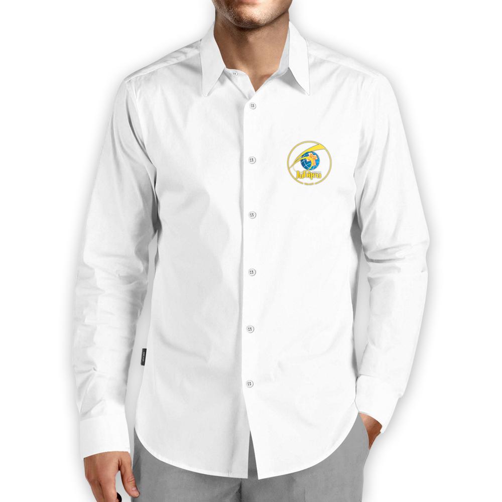 Camisa Social Masculina Branca Lisa Manga Longa 60 anos  - Cursilho
