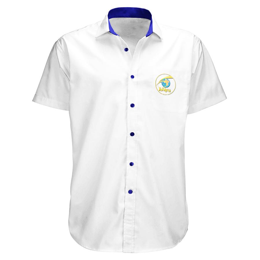 Camisa Social Masculina Branca - Manga Curta - Bordada, sem Bolso  - 60 anos  - Cursilho