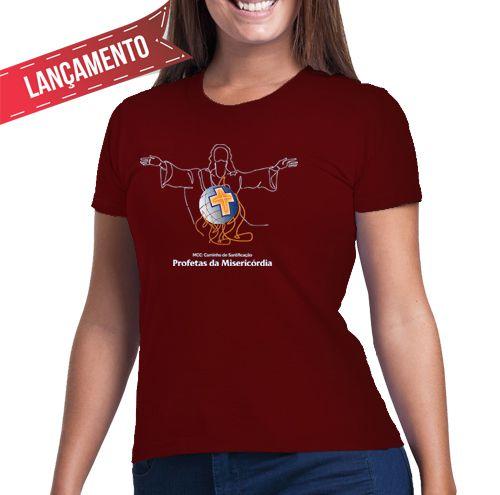 Camiseta Feminina Baby-Look Bordô - Profetas da Misericórdia