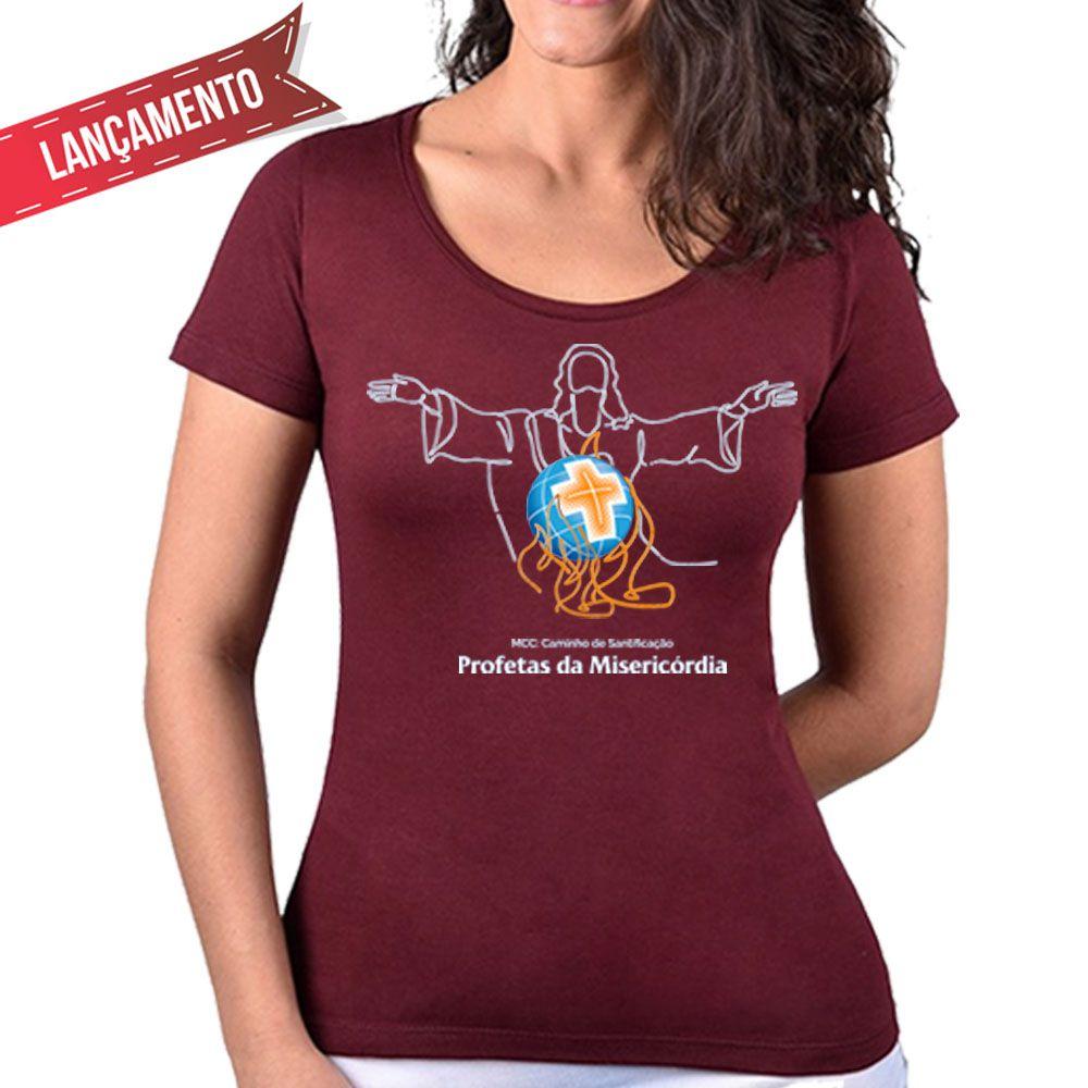 Camiseta Feminina Baby-Look Bordô - Profetas da Misericórdia  - Cursilho