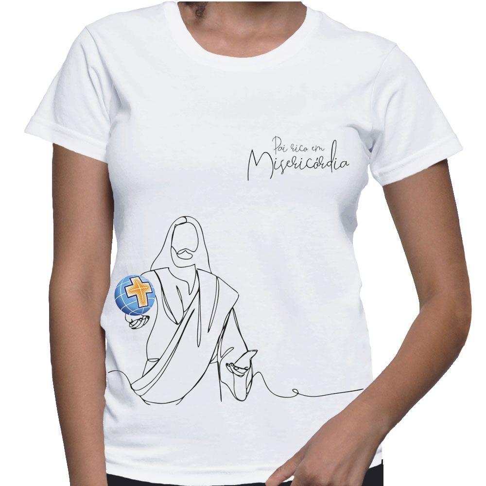 Camiseta Feminina Baby-Look Branca - Pai Rico em Misericórdia  - Cursilho