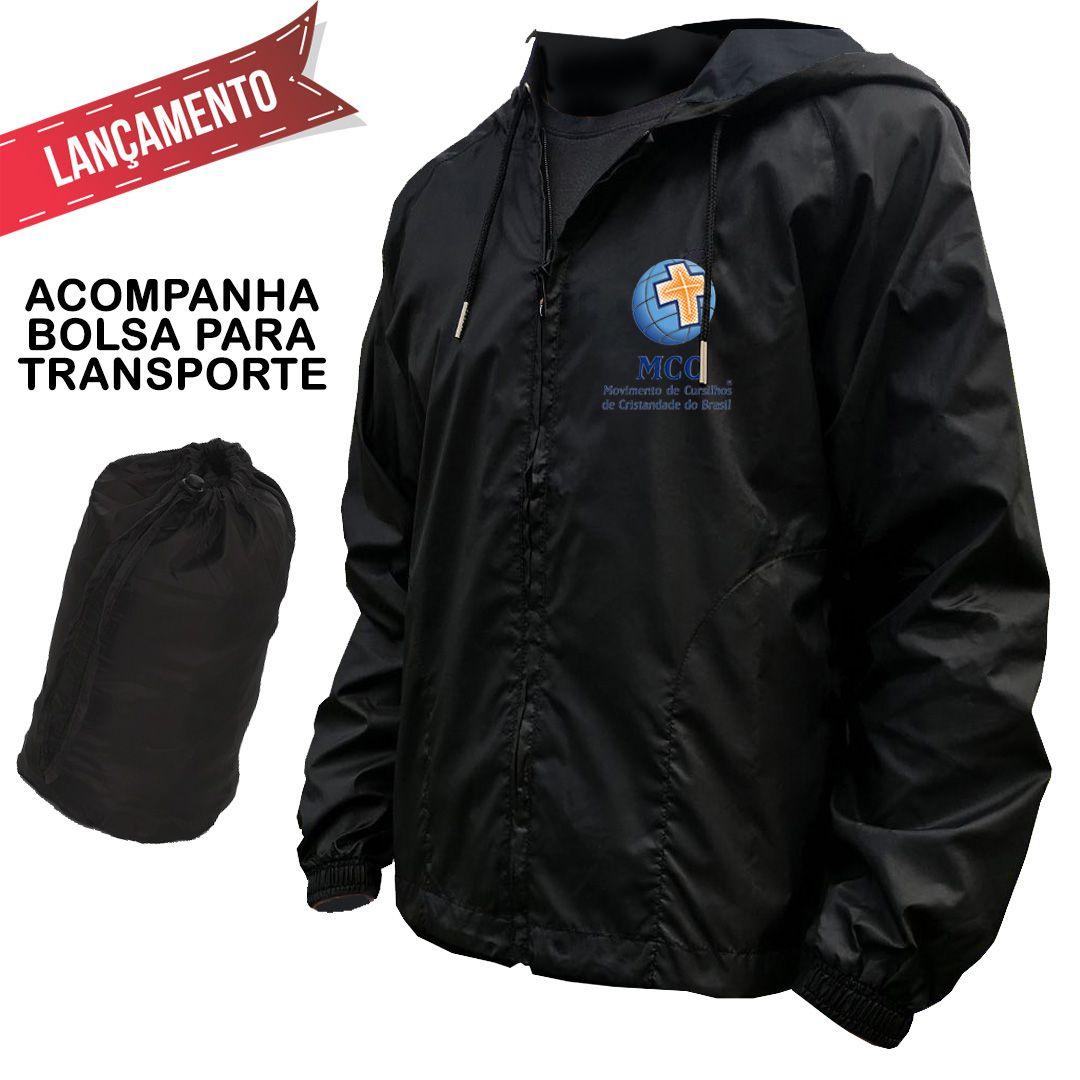 Jaqueta Unissex Corta-Vento com Capuz + Bolsa Transporte - Preta  - Cursilho