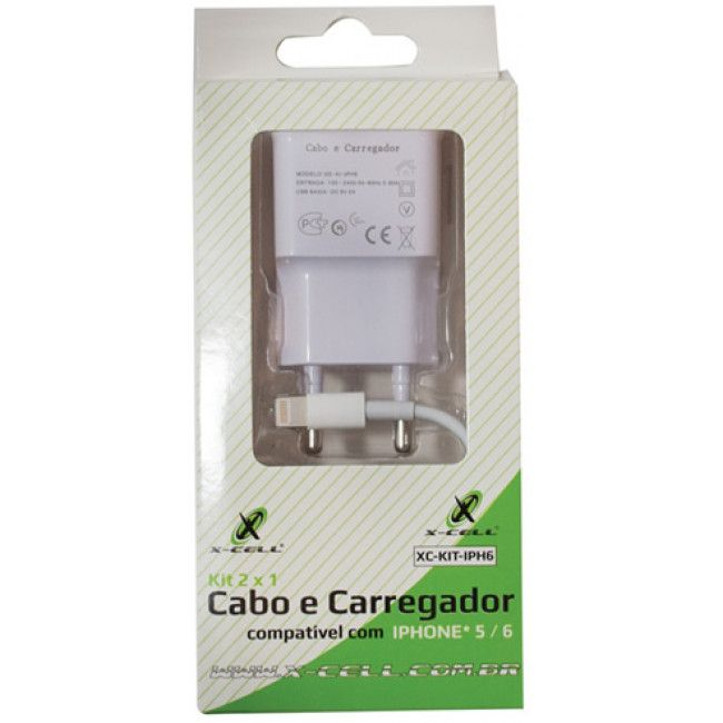 Carregador com cabo para iphone 5/6