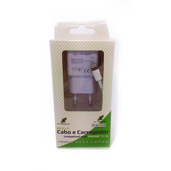 Carregador com cabo para iphone 5 e 6