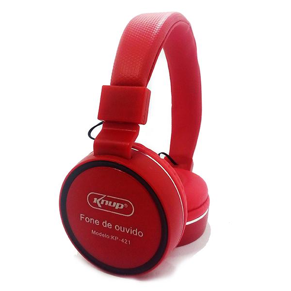 Fone de Ouvido vermelho com Microfone