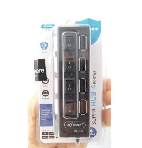 Hub USB 4 portas com Chave Liga Desliga Led