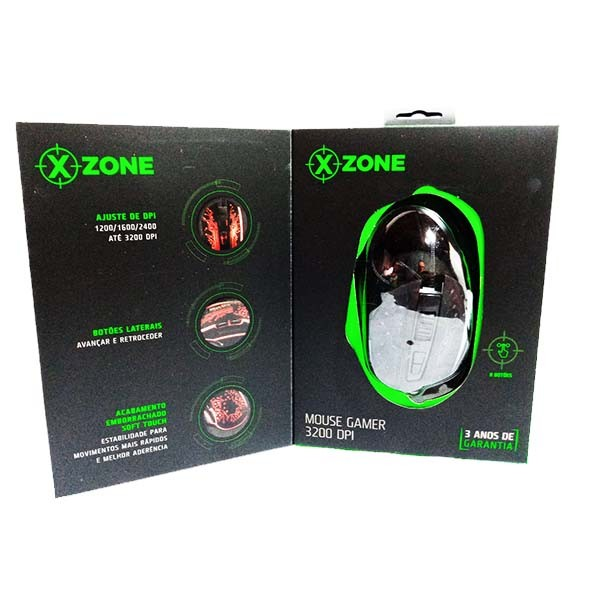 Mouse Xzone Gamer 3200 DPI GMF-03, Iluminação LED