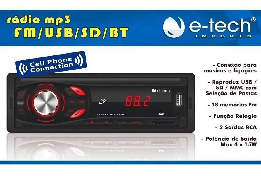 Rádio automotivo com bluetooth E-Tech Imports