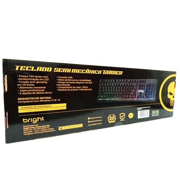 Teclado Gamer Iluminado Bright Semi-Mecânico