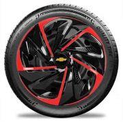 Calota aro 13 Preta Vermelha para Celta, Corsa Nitro E3807