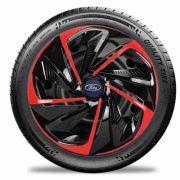 Calota aro 14  Preta Vermelha para  Ford Fiesta, Ka, Nitro E4807