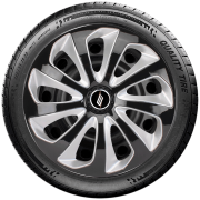 Calota aro 13 Elitte para Celta Gol Palio Uno. Mod. Universal Preta com Prata linha Velox  -  #E3704