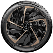 Calota aro 13 Elitte para Celta Gol Palio Uno. Mod. Universal Preta Dourada linha Nitro  -  #E3806