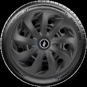 Calota Elitte para Sandero Gol Fox Logan Onix... Aro 15 Mod. Universal Velox Preta Fosca linha Unicolor  -  #LC123