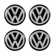 Jogo com 4 peças de Emblema Volkswagen 48mm