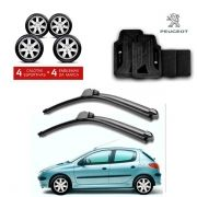 Kit Peugeot: Jogo de Calotas Aro 14 + Jogo de Tapetes + Par de Palhetas - 206, 207, 2008 e outros - G867j