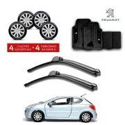 Kit Peugeot: Jogo de Calotas Aro 15 + Jogo de Tapetes + Par de Palhetas - 206, 207, 2008 e outros - P456j