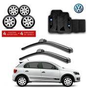 Kit Volkswagen: Jogo de Calotas Aro 14 + Jogo de Tapetes + Par de Palhetas - Gol, Voyage, Saveiro e outros - G084j