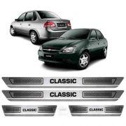 Soleira De Aço Inox Escovado Anti-risco Chevrolet Classic