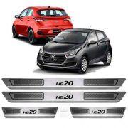 Soleira De Aço Inox Escovado Anti-risco Hyundai Hb20