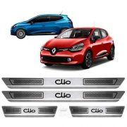 Soleira De Aço Inox Escovado Anti-risco Renault Clio
