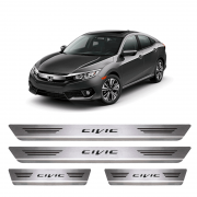 Soleira De Aço Inox Escovado Honda New Civic 2017 a 2018