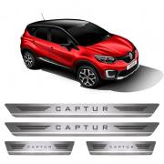 Soleira De Aço Inox  Escovado Renault Captur 2017 a 2018