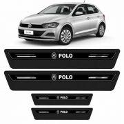 Soleira Protetor Porta Platinum Novo Volks Polo 2018 - Preto