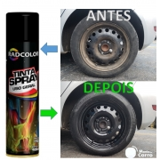 Tinta Spray Preto Brilhante para Roda de Carro Alta Temperatura