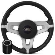 Volante Esportivo Ford  Mustang Prata + Cubo Ka, Fiesta, Courier, Escort, Ecoort, Focus