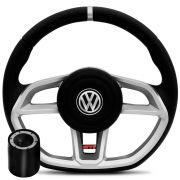 Volante Esportivo Golf MK7 Volkswagen, Base Reta, Preto Com Prata - Gol, Voyage, Parati, Fox, Polo, Golf, Saveiro