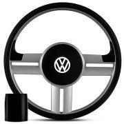 Volante Esportivo Volkswagen Rallye Original Prata + Cubo para Gol, Parati, Saveiro e Voyage