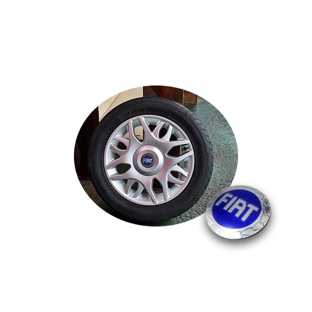 Calota Centro Miolo De Roda Original Fiat Azul
