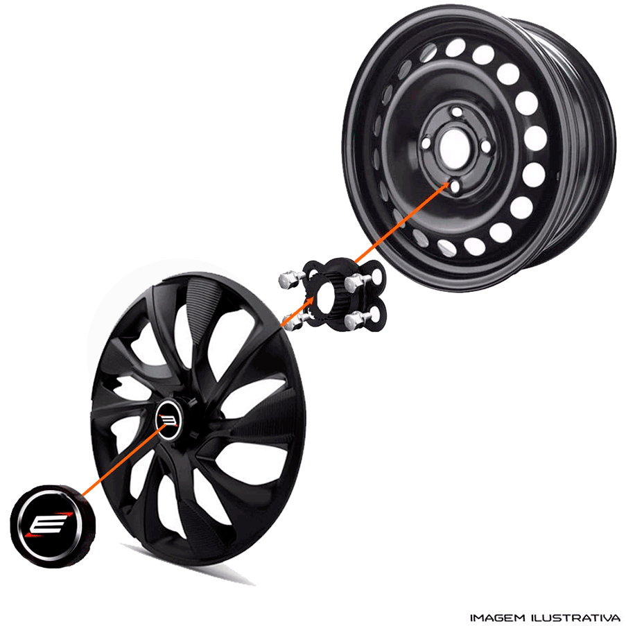 Calota aro 13 Elitte para Celta Gol Palio Uno. Mod. Universal Grafite Prata linha DS5  -  #E3101