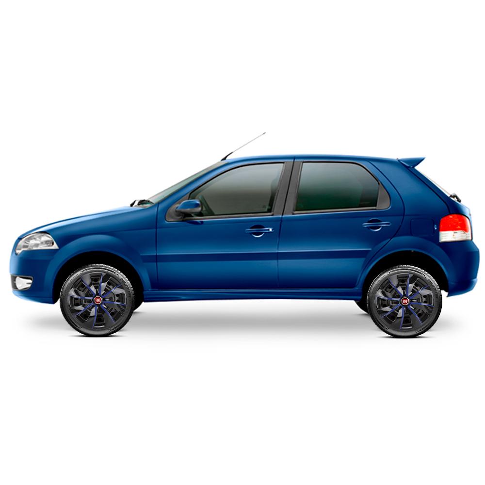 Calota aro 13 Elitte para Celta Gol Palio Uno. Mod. Universal Preta e Azul linha Prime  -  #E1013