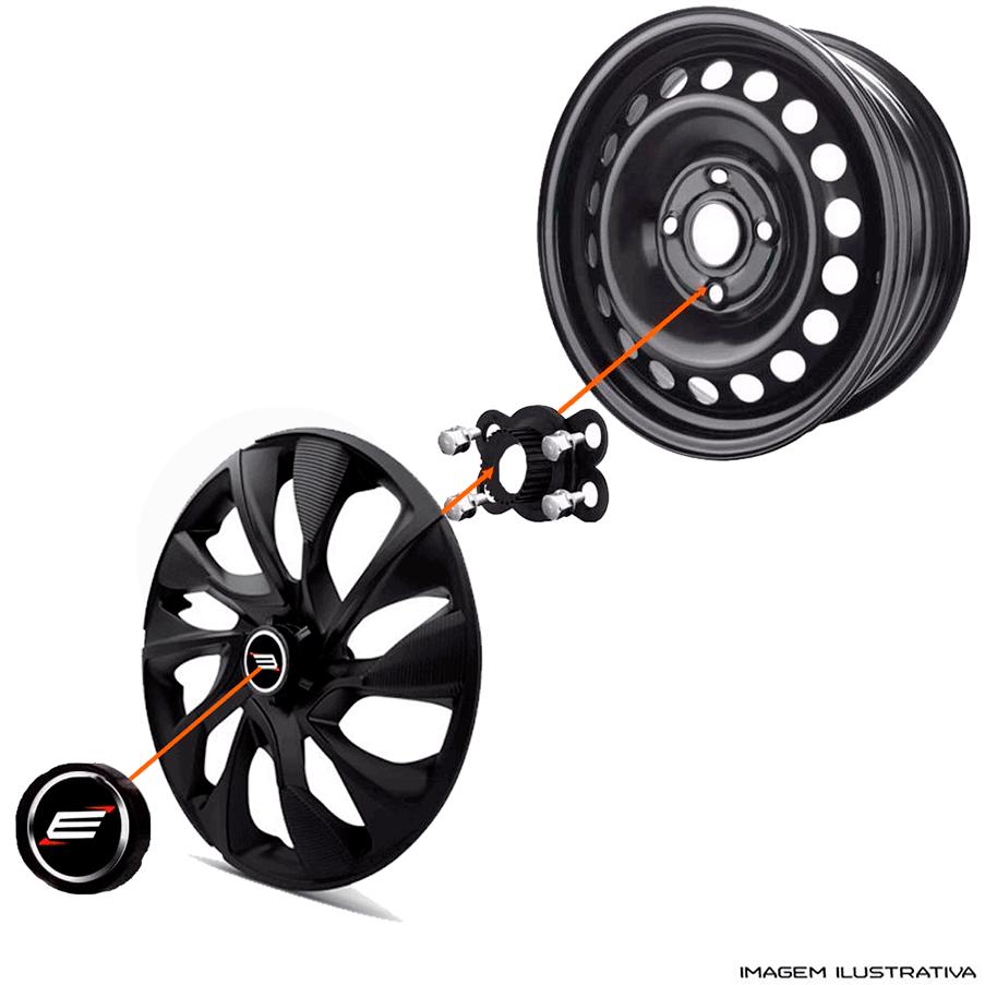Calota aro 13 Elitte para Celta Gol Palio Uno. Mod. Universal Preto Prata linha DS4  -  #E3016