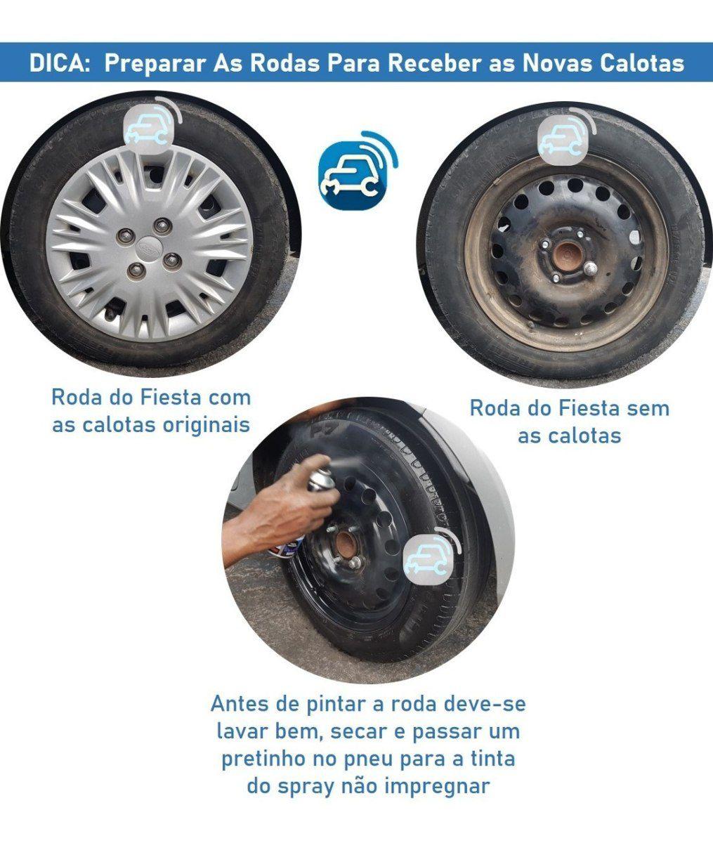Calota Jogo Fiesta Ford Ka Focus Aro 14 Preto G133pfj