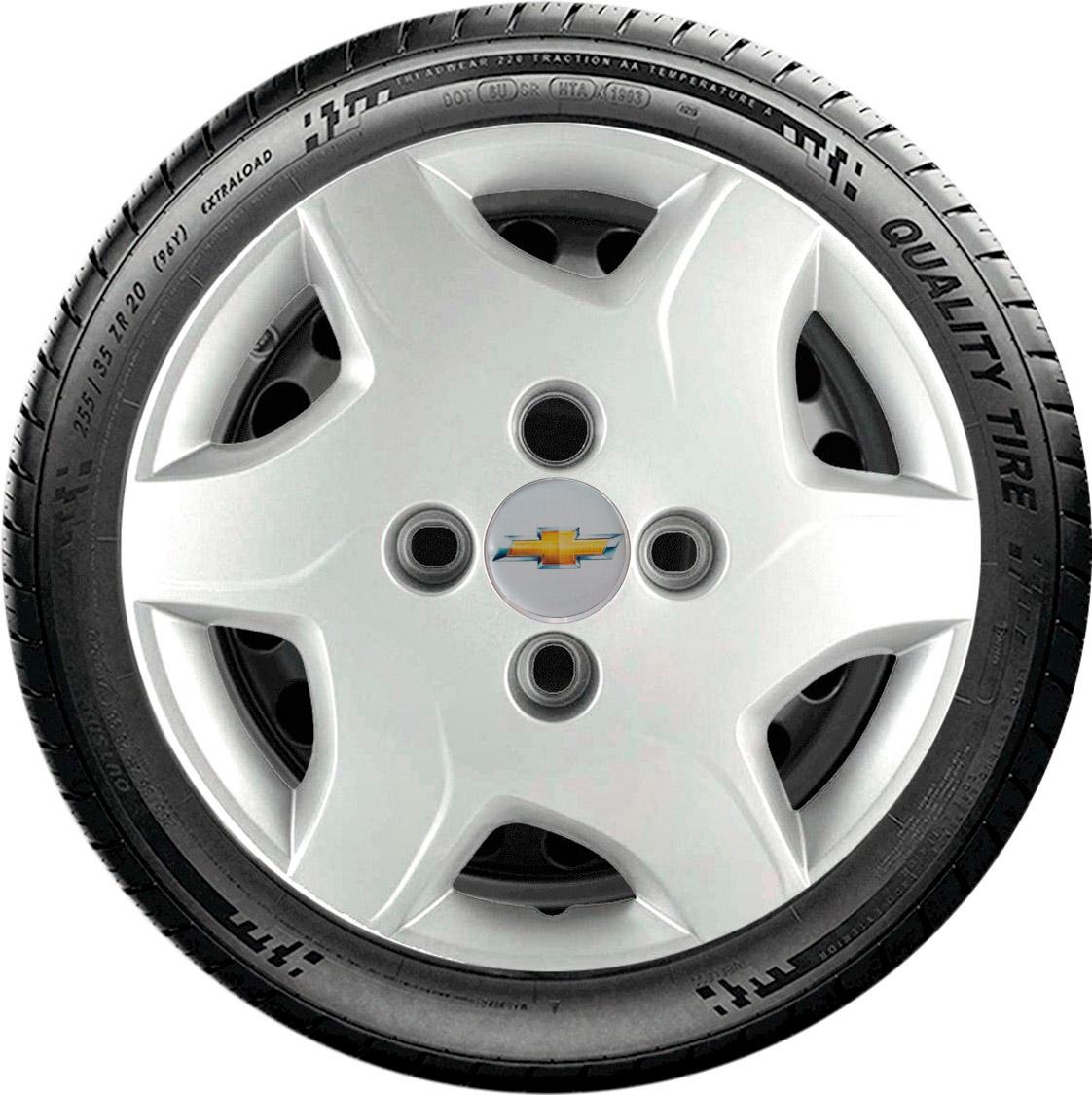 Jogo De Calota Tradicional Celta Aro 13 Logo Chevrolet G042j Cor: Prata