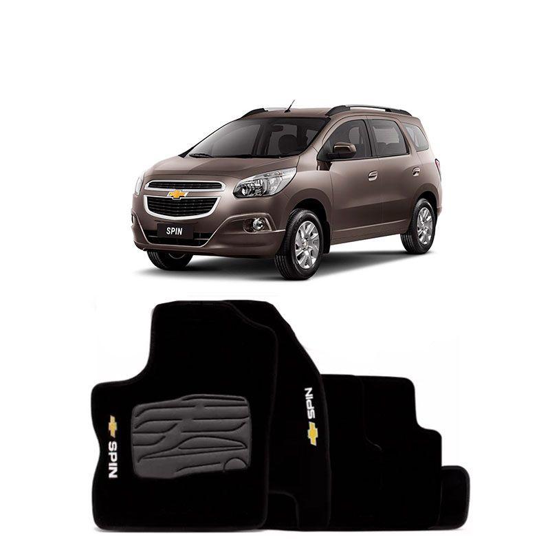 Jogo de Tapete Carpete para Chevrolet Spin - Preto