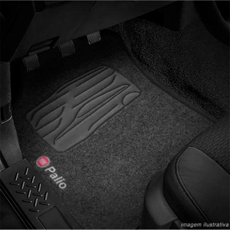 Jogo de Tapete Carpete para Fiat Palio Fire 1996 a 2014 - Preto -