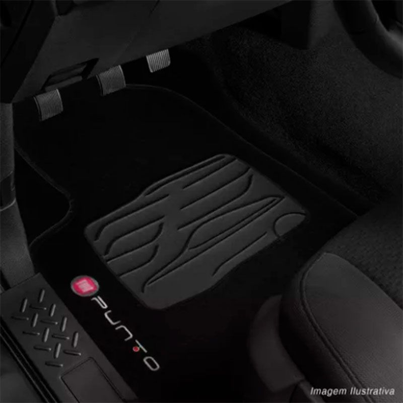 Jogo de Tapete Carpete para Fiat Punto - Preto -