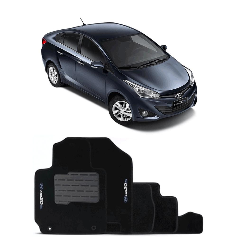 Jogo de Tapete Carpete para Hyundai HB20s 13/16 - Preto