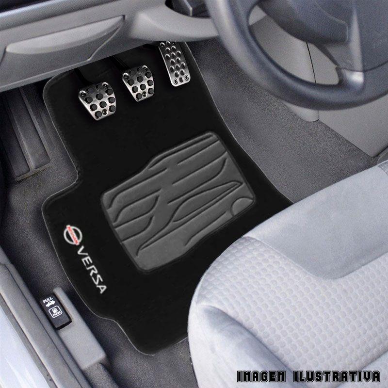 Jogo de Tapete Carpete para Nissan Versa - Preto -