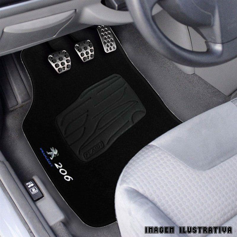 Jogo de Tapete Carpete para Peugeot 206 - Preto -