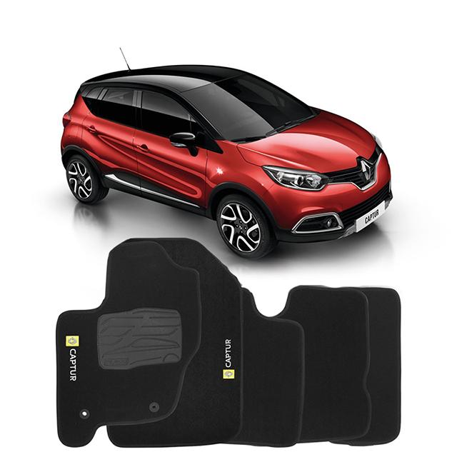 Jogo de Tapete Carpete para Renault Captur - Preto -