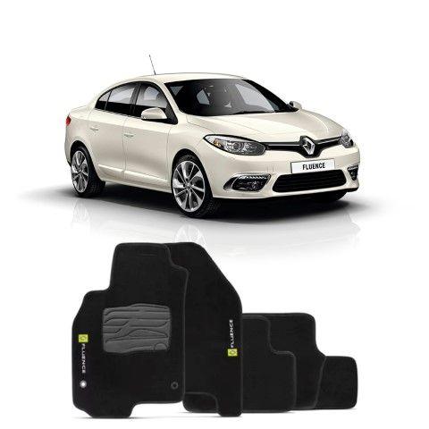 Jogo de Tapete Carpete para Renault Fluence - Preto -