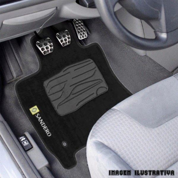 Jogo de Tapete Carpete para Renault Sandero - Preto -