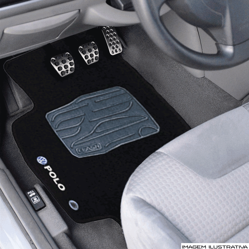 Jogo de Tapete Carpete para Volkswagen Novo Polo - Preto -