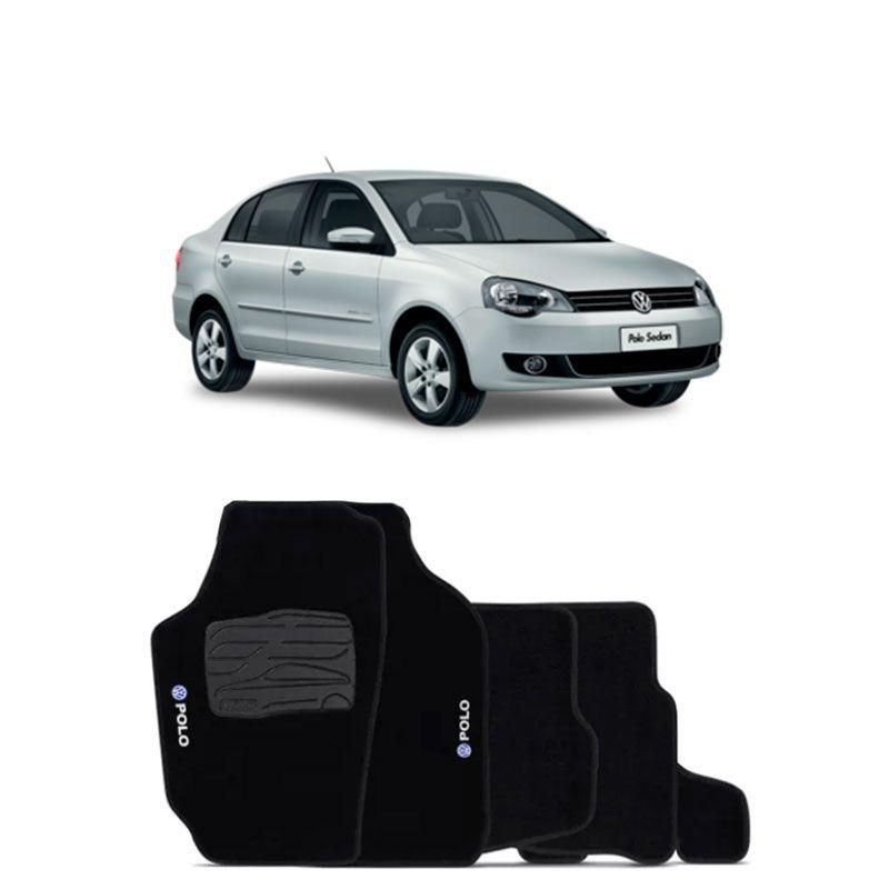 Jogo de Tapete Carpete para Volkswagen Polo 2007 a 2013 - Preto -