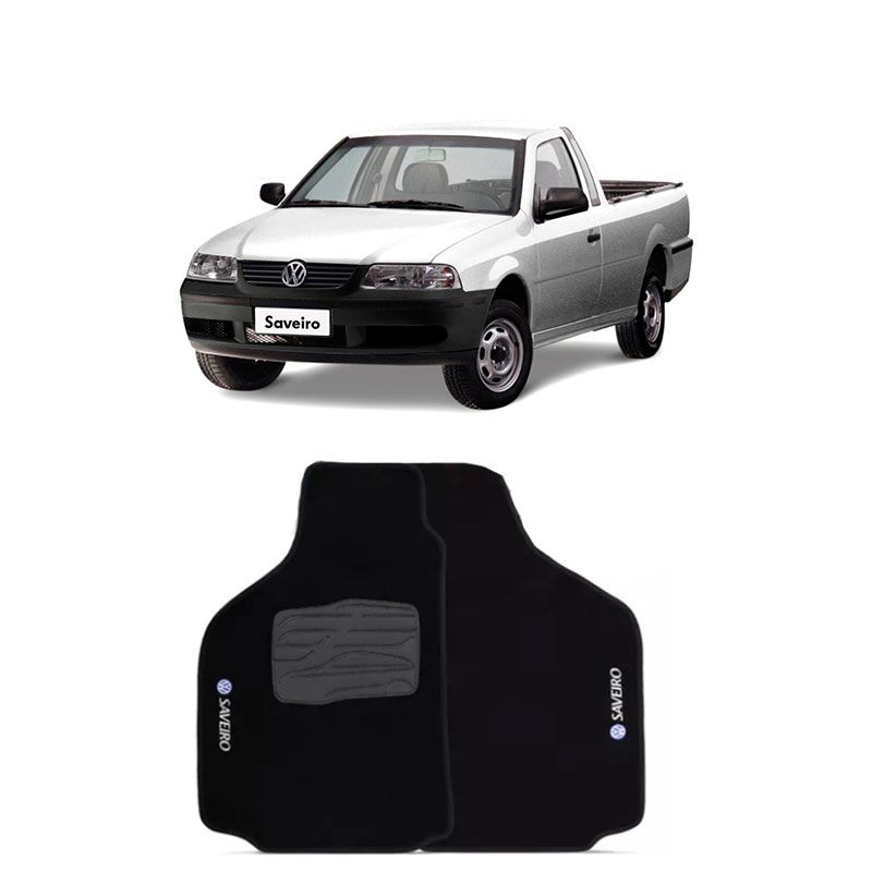 Jogo de Tapete Carpete para Volkswagen Saveiro G3 - Preto -